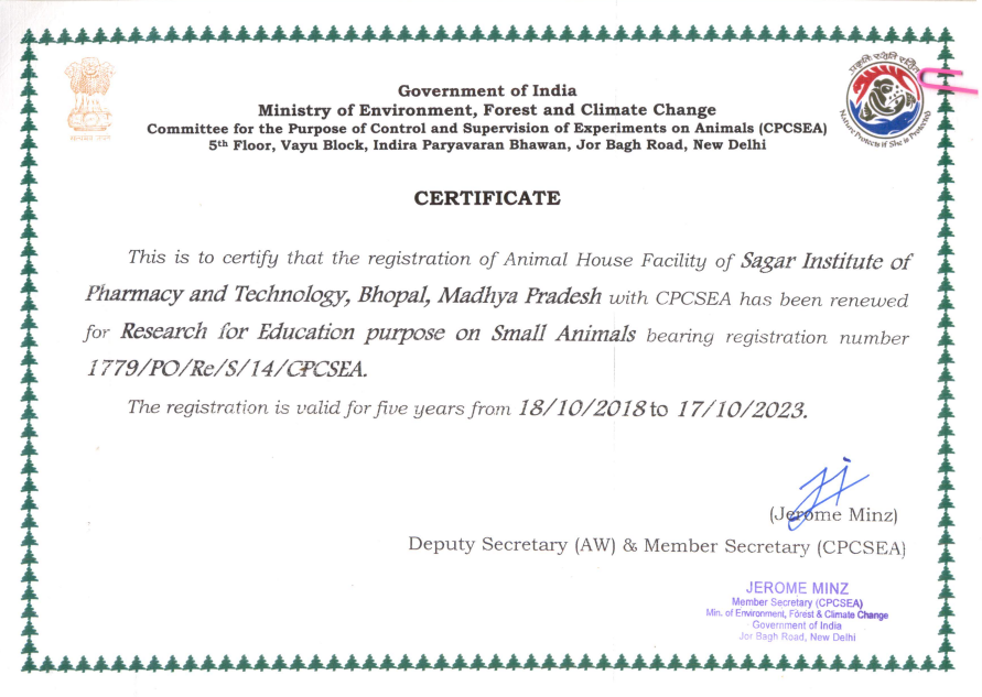 SIPTec, Certificate, CPCSEA, research for education purpose